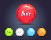 Vector Glossy Sphere Shopping sale icon and multicolored — Stock Vector