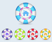 Vector Sphere Home Icon Button and multicolored — Stock Vector