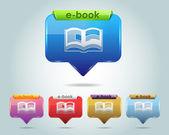 Icono vector e-libro brillante y multicolor — Vector de stock