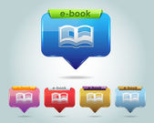 Vector Glossy e-Book Icon and Multicolored — Vecteur