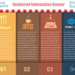 Numbered Information Food Template Banner Vintage Pattern Vector Design — Imagens vectoriais em stock