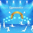 Gymnastics Shield Vector Background — Imagens vectoriais em stock