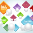 Set of colorful vector Icon Banner Serrated Diamond Style — ベクター素材ストック