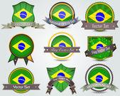 Brazil National flag badges set — Stock Vector