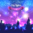 City Lights Landscape Night Vector Design — Stock Vector