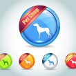 Vector Glossy Pet Shop Icon Button and multicolored - Stock Vector
