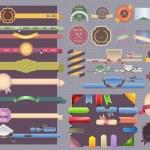 Vintage style, ribbon navigation gift menu banner box sticker decoration web set Vector design — Stock Vector