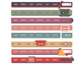 Web Elements Vector Header Navigation Templates Set — Stock Vector