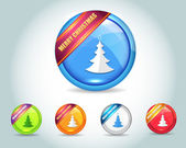 Vector Glossy Christmas Tree Icon Button and multicolored — Stock Vector