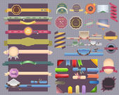Style vintage, ruban navigation cadeau menu bannière boîte autocollant décoration web vecteur scénographie — Vecteur