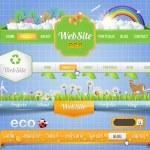 Web Elements Eco Vector Header & Navigation Templates Set Eco Theme — Stock Vector