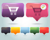 Vector Glossy Shopping basket icon and multicolored — Cтоковый вектор