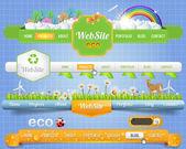 Elementos web de vector eco de cabecera y de navegación plantillas establecer eco temáticos — Vector de stock