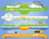 Web Elements Eco Vector Header & Navigation Templates Set Eco Theme — ストックベクタ