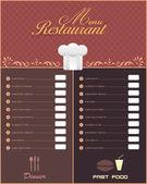 Restaurant Menu Vector Design — Stock Vector