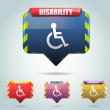 Vector Glossy Disabled Icon Button and multicolored — Stock Vector