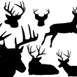 Stock Vector: Deer silhouette set -2