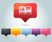 Vector Glossy Book Icon and Multicolored — Stock Vector