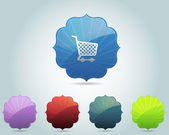иконка корзина глянцевый ретро кадр покупки вектор и разноцветные — Cтоковый вектор