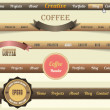 Web Elements Vector Header & Navigation Templates Set, Coffee Colour Style — Stock Vector #15340125
