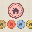 Vector Vintage Sticker Home Icon Button and multicolored — Stockvectorbeeld