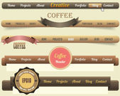 Web Elements Vector Header & Navigation Templates Set, Coffee Colour Style — Stok Vektör