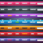 Modern Shiny Lighting Web Elements Vector Header & Navigation Templates Set — Stock Vector