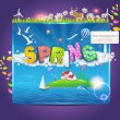Illustration of Spring Template — Stock Vector