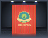 Vintage Style Cover Merry Christmas Vector Template — Stock Vector