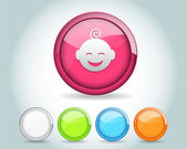 Vector Glossy Round Baby Icon Button and multicolored — Stock Vector