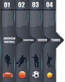 Esportes vetor fundo vertical opções de número de bandeira & cartão — Vetorial Stock