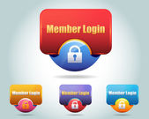 Vector Glossy Member Login Icon Button and multicolored — Stock Vector