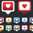 Heart Web icon vector set — Stock Vector