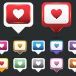 Heart Web icon vector set — Stock Vector #15791547