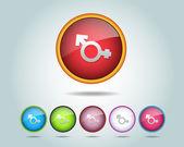 Vector multicolorido e brilhante redondo botão de ícone de sexualidade — Vetorial Stock