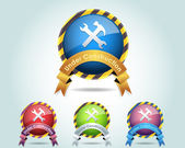 Vector Glossy Round Under Construction Ribbon Icon Button and multicolored — Vector de stock