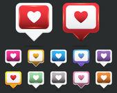 Heart Web icon vector set — Stock Vector