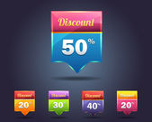 Set of Multicolored vector Icon Discount Concept Vector — Stock Vector
