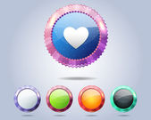 Vector Glossy Serrated Heart Icon Button and multicolored — Stock Vector