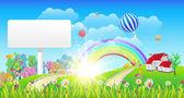 Beautiful Spring Summer Landscape - Vector Illustration — Stock Vector