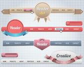 Web Elements Vector Header & Navigation Templates Set — Vettoriale Stock