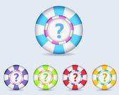 Vector Sphere FAQ Icon Button and multicolored — Stock vektor