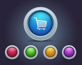 Vector Glossy Shopping basket icon and multicolored — Stock Vector