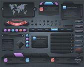 Diseño conjunto de vectores elementos web oscuro — Vector de stock