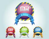 Vector Glossy e-Book Icon and Multicolored — Stock Vector