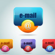 Royalty-Free Stock Imagem Vetorial: Vector Glossy e-mail Icon Button and multicolored