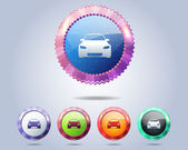 Car Icon Button Vector Design Multicolored — Stock Vector
