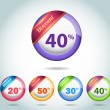 Set of colorful vector Icon Discount Ball Set Vector Design — Imagens vectoriais em stock