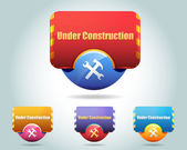 Under construction Vector Icon Button — Stock Vector