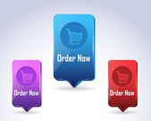 3d Vector Panel Order Now Button Icon Multicolored — Stock Vector